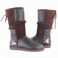 Buy cheap Fashionable Women's Winter Snow Boots/Genuine Leather Boots with Glossy Sheepskin Upper product