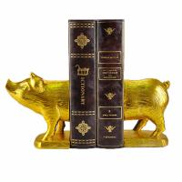 Buy cheap Polyresin Piggy Home Decor Bookends With Gold Gilded Urban Customized Size product