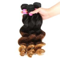 Buy cheap Peruvian Hair Loose Wave 3 Tone Ombre Hair Weave , 1B/4/27 Ombre Blonde Hair Extensions product