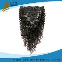 Buy cheap Real 100% Virgin Hair Clip In Virgin Hair Extensions Kinky Curly Black 6A from wholesalers
