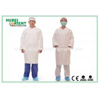 Buy cheap Tyvek disposable white lab coats , medical protective clothing Korean Collar and Zip product