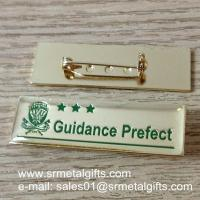 safety pin epoxy lapel pin with engraved letters