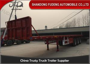 China Q345B 3 Axles 50 Ton Semi Flatbed Container Trailer on sale