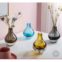 Buy cheap Brown Colored Glass Flower Vases / Bulb Type Glass Flower Vase Decoration product
