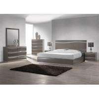 Buy cheap King Size Bedroom Furniture Sets , Dark Color High Gloss Bedside Cabinets E1 MDF product