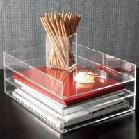 Buy cheap Clear desk top Acrylic Storage Boxes , 2 tier acrylic file holder product
