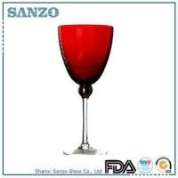 Buy cheap RW09006 Sanzo Handmade Glassware Manufacturer clear stem red color wine glass product