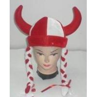 Buy cheap Novelty velour ox horn hat with red / white braids product