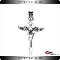 Buy cheap Antique 925 Sterling Silver Angel Wing with Skulls Cross Pendant product