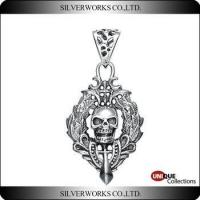 Buy cheap Antique Silver Skull Punk Necklace Pendant Unique 925 Sterling Silver Gothic ornaments charms product