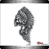 Buy cheap Wholesal Antique Indians Skull With Feathered Headdress 925 Silver Handcraft Necklace Pendant product