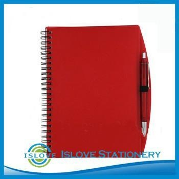 Quality A5 Red PP Cover Spiral book with pen for sale