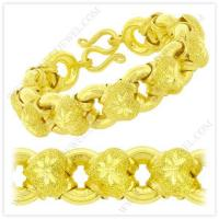 Buy cheap 5 Baht Sparkling Polished Diamond-Cut Hollow Heart Donut Link Chain Bracelet in 23k Thai Yellow Gold product