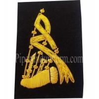 China Black Bagpipe Embroidered Badge - Gold Bullion Wire on sale