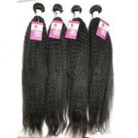 Buy cheap Unprocessed Virgin Peruvian Human Hair Kinky Straight Natural Black Hair Extensions #96545 from wholesalers